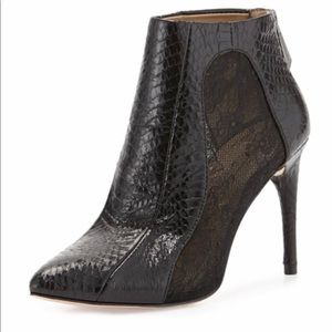 BCBG Max Adria snake embossed and leather bootie